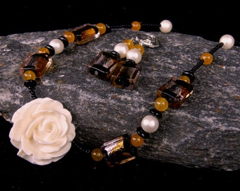 Winter Rose Necklace and Earring Set