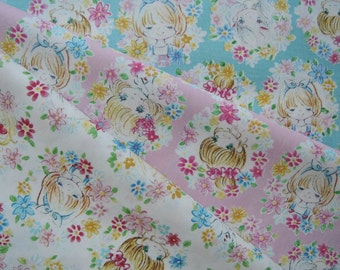 "Bundle of 1/8 Kawaii Doll Faces Fabric in 3 Colorways. Approx. 9"" x 22"" Made in Japan"