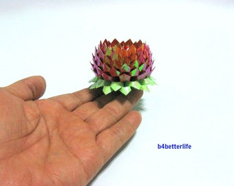 A piece of Small Size Red Color Origami Lotus. (AV paper series). #FLT-160.
