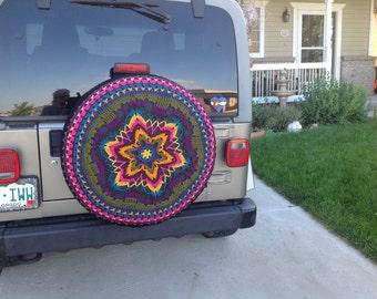 Boho Tire Cover~Custom~Crochet Jeep-CRV-FJCruiser-RAV4 Cover