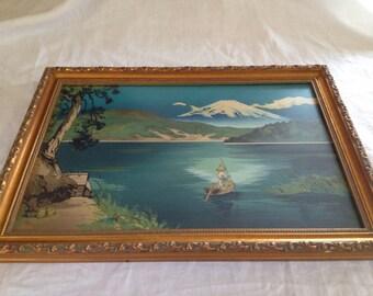 10% OFF SALE Vintage Asian Inspired WaterColor Framed Print
