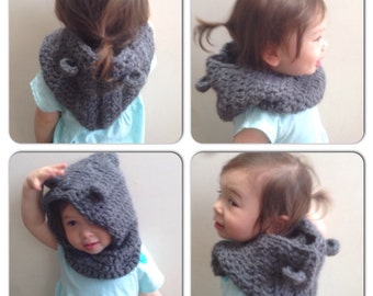 Bear Hooded Cowl, Crochet Bear Hood, Thick Hoodie, Baby Toddler Child Bear Hood, Made to Order, Any Colour