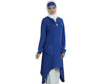 MyBatua Stylish Royal Blue Long Tunic/Top KRF043, Party and Occasion Muslim Kurti |Hijab |Blouse |Islamic Modest Clothing| Both Side Pockets