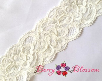 "1.5"" Ivory Lace - Stretch Lace Trim - Wedding Garter Bridal Laces - YY 1.5 inch lace"
