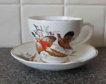 Quirky Teacup and Saucer Pheasant