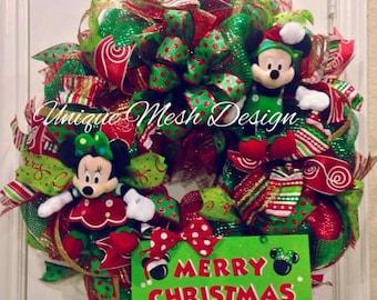 Mickey Mouse Christmas Wreath, Mickey n Minnie Wreath, Mickey Mouse Wreath