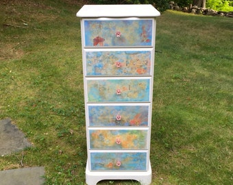 Gorgeous Upcycled, Chalk Paint, Decoupage and Hand Painted Vintage Impressionist Floral Dresser/Highboy -  blue, pink, gold