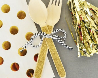Baby Shower Gold Glitter Wooden Spoons & Forks, Wooden Spoons, Glitter Birthday Party Tableware, Glitter Spoons (EB3082)