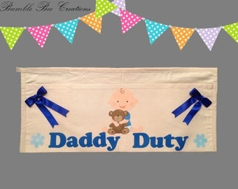Daddy Duty Tool Belt - Baby Boy Hugging Teddy Bear