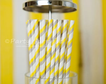 Yellow gray and white paper straws, Grey straws, Great prices quality service, Wedding Straw, Baby Shower Straws,Birthday Party