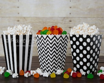 Black Popcorn boxes GOOD PRICES, black and white striped chevron dots favor candy gift boxes, party decoration centerpiece wedding, birthday
