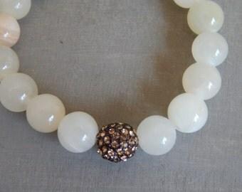 Jade stretch bracelet with chocolate brown rhinestone pave bead, boho chic, bohemian style, beach chic, layering bracelet, neutral