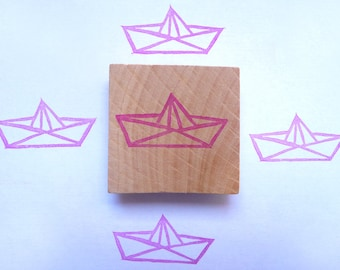 Origami boat hand carved rubber stamp