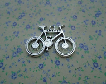 10 pcs of antique silver color metal bicycle pendant charm , 35*24mm , MP42