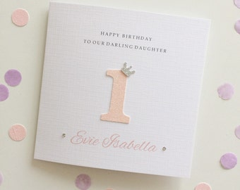 Glitter Age Crown Birthday Card ~ Personalised