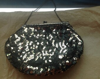 Original 1950's French sequin evening clutch bag