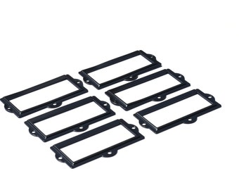 Black Metal  Label Holders-Choice of 4, 5, 6, 7, 8, 9, 10, 11, or 12 Label Holders-Office Organization-Organization