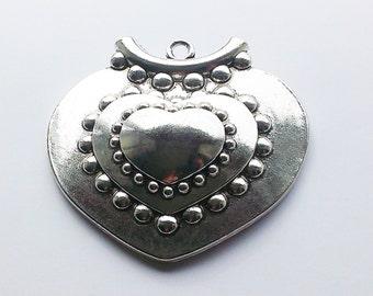Tibetan Silver Very Large Tribal Heart Pendant 76x82mm