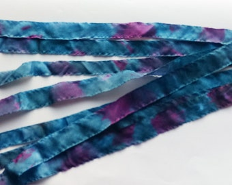 10 Hand Dyed Silk Ribbons Raw Edges Dark blue is Purple and Pink 67cm long