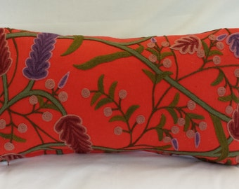 """10""""x21"""" Lumbar Pillow Cover/ Embroidery Coral Linen"""