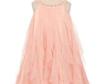 Elegant Mesh Ruffle Dress with Pearl Beading on the Neckline