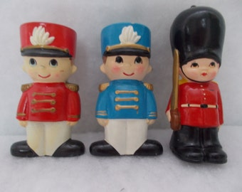 SALE - Vintage Ceramic Solider Trio Christmas Ornaments (1394)