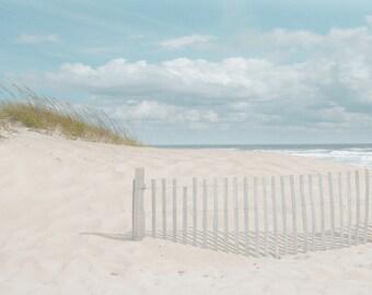 Beach photography Sand dune Fence Seascape Nautical peaceful wall decor