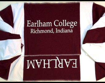 SALE Infinity Scarf EARLHAM College QUAKERS Team Spirit Upcycled Woman's T-Shirt New Handmade Scarves