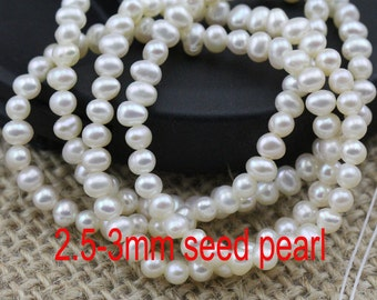 2.5-3mm AA potato near round seed pearl strand,good quality,small size pearl strand wholesale,potato pearl bead string,DIY design material