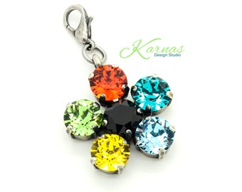 CLEARANCE SALE! Tropical Flower 8mm Pendant Swarovski Elements *Antique Silver *Karnas Design Studio *Free Shipping