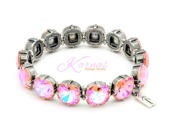 JUST PEACHY KEEN 12mm Crystal Cushion Stretch Bracelet Made With Swarovski Elements *Pick Your Finish *Karnas Design Studio *Free Shipping