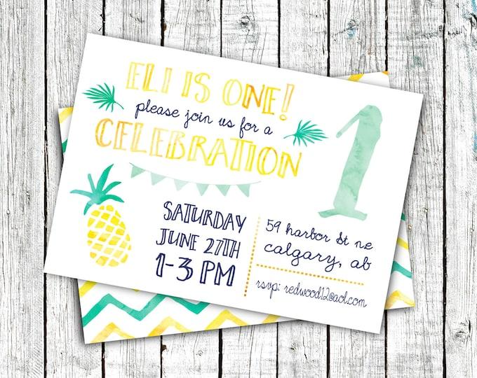 Birthday Party Invitations, Digital File or Printed, Pineapple, Summer Birthday, Gender neutral, Mint, Yellow, Aqua #20