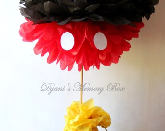Large Mickey Mouse inspired Tissue Pom pom Centerpiece / Mickey Mouse Birthday Decor
