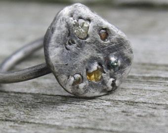 Multi Colour Sapphire Molten Sterling Silver Ring