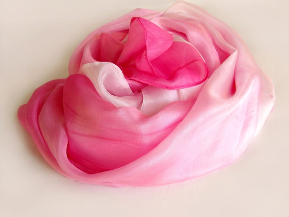 Strawberry Ombre Dip Dye Silk Scarf