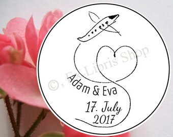 "Personalized wedding stamp ""Airplane"", custom wedding stamp, save the date stamp, name stamp, 826"