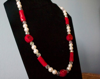 Pearl Red Coral and Crystal Necklace