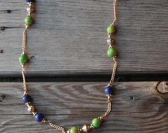 Turqouis Lapis Lazuli Malachite Silver Necklace