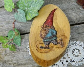 Vintage Tovbova Hand Carved Ice Skating Gnome on Wood