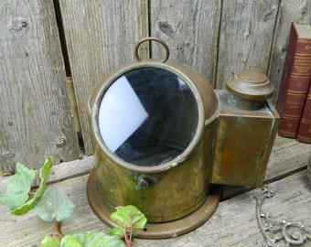 Antique Brass and Copper Ship Navigation Binnacle Compass Cover With Candle Holder