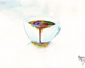 ORIGINAL WATERCOLOR PAINTING: Midnight coffee
