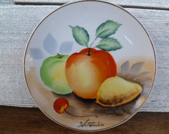 Vintage Hitomi Hand Painted Plate, Collector's Plate Japam