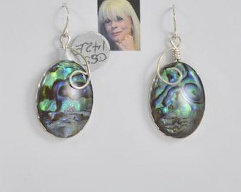Paua Shell Sterling Silver Earrings II  CSS142E
