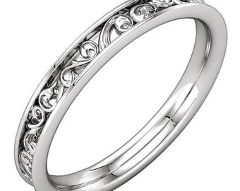 Beautiful Wedding Band Sculptural Inspired Carved Channel Design in Solid 14K White Gold