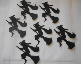 6 Witches on Broomstick Silhouette Dies