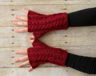Cable Knit Fingerless Gloves, Knit Hand Warmers, Knit Texting Gloves, Knit Wrist Warmers, Red - Ready to Ship