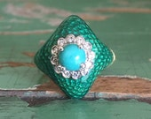 Vintage 18k green enamel diamond and turquoise ring