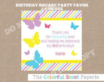 PRINTABLE-Matching Striped Butterfly Favor Tags-Stickers, Butterfly, Flutter, Spring Favor Tags (#277)