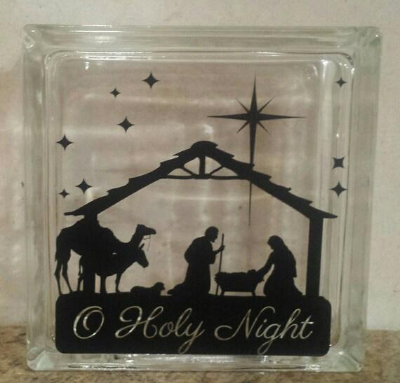 O Holy Night Nativity Scene Decorative Glass Block Decal - Nativity vinyl decal for glass block light