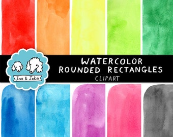 Watercolor Hand-Painted Rounded Rectangles / Backgrounds Personal and Commercial Use